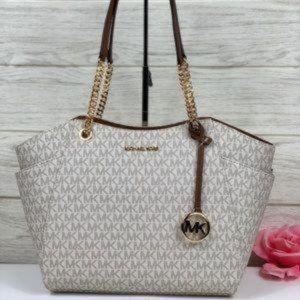 NWT Michael Kors JST LG Chain Shoulder Bag Vanilla